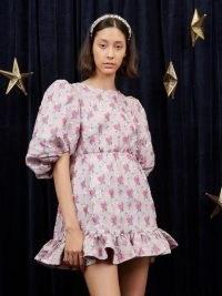sister jane Saiph Jacquard Mini Dress Candy Pink / romantic floarl puff sleeve dresses / ruff hem / open back