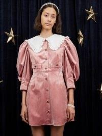 sister jane WRITTEN IN THE STARS Taurus Velvet Mini Dress Seashell Pink – oversized collar balloon sleeve dresses