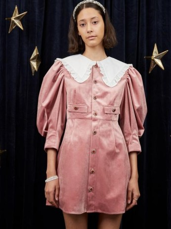 sister jane WRITTEN IN THE STARS Taurus Velvet Mini Dress Seashell Pink – oversized collar balloon sleeve dresses - flipped