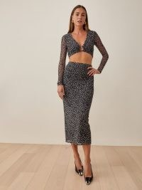 REFORMATION East Two Piece Black Cheetah / animal print fashion sets / crop top and pencil midi skirt co-ord / glamorous fashion co-ords