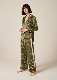 Me and Em Eco Silk Horse Print Pyjama Set + Pouch in Olive/Navy/Pink ~ women's green animal print pyjamas ~ womens luxe nightwear sets ~ PJs