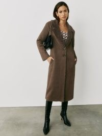 REFORMATION Edythe Coat in Chocolate ~ chic brown faux suede coats ~ faux shearling collar ~ womens stylish winter outerwear