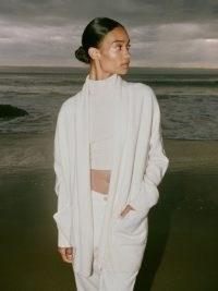 REFORMATION Eleonora Regenerative Wool Cardigan in Arctic ~ chic shawl collar open front cardigans