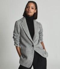 REISS EVAN EVAN SINGLE-BREASTED KNITTED BLAZER GREY ~ chic notch lapel blazers ~ womens stylish winter jackets