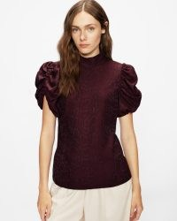 Ted Baker KALMIIA Exaggerated sleeve snake top in Deep Purple | ruched short puff sleeve high neck tops | animal and reptile print fashion