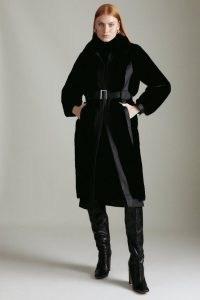 KAREN MILLEN Faux Fur Pu Mix Belted Coat / women's glamorous black coats / winter glamour / womens luxe style outerwear