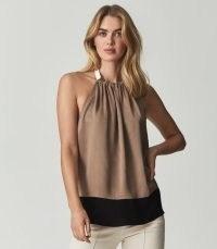 REISS FAYE HALTERNECK SATIN TOP MINK ~ glamorous light-brown halter neck tops