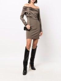 Fendi off-shoulder ruched mini dress ~ long sleeve bardot dresses ~ designer party fashion