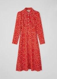 L.K. BENNETT FERGUSON RED MULTI WOOL VISCOSE DRESS / long sleeve pointed collar midi dresses