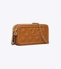 TORY BURCH FLEMING DOUBLE-ZIP MINI BAG in Kobicha ~ brown-tone crossbody bags ~ chain strap cross body