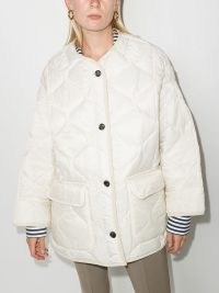 Frankie Shop Teddy diamond-quilting puffer jacket in Ivory-white ~ women's oversized quilted winter jackets ~ womens fashionable outerwear