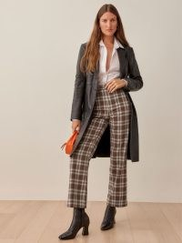 REFORMATION Franklin Pant in Brown Plaid ~ womens checked crop leg trousers ~ women's stylish check print straight cropped pants