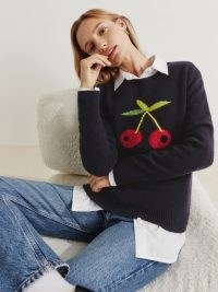 REFORMATION Fruit Intarsia Regenerative Wool Sweater in Navy / dark blue cherry patterned sweaters / womens crew neck jumpers