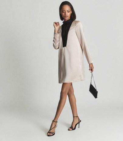 REISS GABRIEL LACE FRONT SATIN MIDI DRESS BLUSH ~ long sleeve high neck evening shift dresses