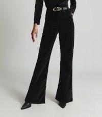 Reiss GABRIELA VELVET FLARED JEANS BLACK – luxe style flares – womens retro trousers
