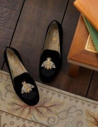 BODEN Gabriella Embellished Loafers Black Velvet/Moth / luxe style beaded and tasseled loafer shoes / insect themed flats