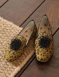 BODEN Gabriella Embellished Loafers Metallic Jacquard Leopard / wild cat print slip on shoes
