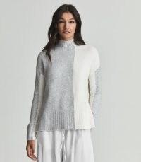 Reiss GAIA COLOUR BLOCK HIGH NECK JUMPER GREY | womens luxe style drop shoulder jumpers | women's chic colourblock knitwear