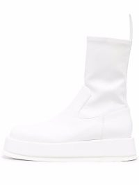 GIA BORGHINI Rosie11 faux-leather ankle boots in optical-white ~ womens flatform boots ~ women's pull on winter flatforms