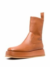 GIA BORGHINI Rosie leather ankle boots in tan brown ~ women's casual autumn and winter on trend footwear