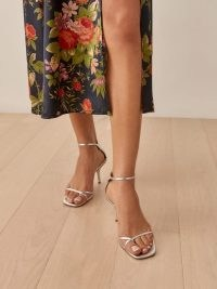 REFORMATION Gigi Strappy Mid Heel Sandal in Silver ~ strappy metallic luxe style party sandals