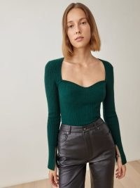 REFORMATION Glenna Cashmere Sweater in Sycamore ~ green sweetheart neckline sweaters