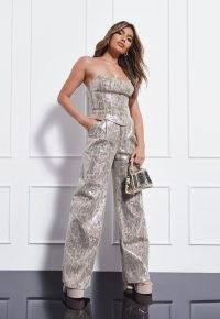 MISSGUIDED gold co ord snake print masculine trousers / womens on-trend menswear style fashion / glamorous animal prints