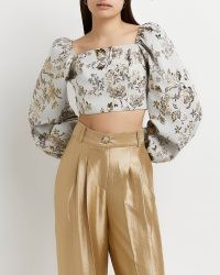 Gold floral print long sleeve crop top ~ cropped balloon sleeve square neck evening tops ~ luxe style party fashion