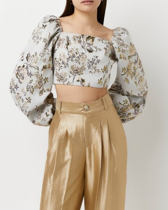 Gold floral print long sleeve crop top ~ cropped balloon sleeve square neck evening tops ~ luxe style party fashion - flipped