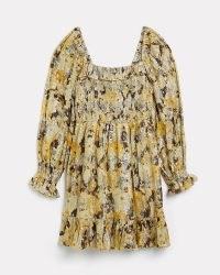 RIVER ISLAND GOLD PRINTED SHIRRED MINI DRESS ~ metallic ruffled party dresses
