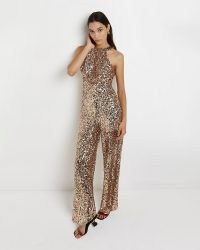 RIVER ISLAND GOLD SEQUIN HALTER NECK JUMPSUIT ~ glittering luxe-style evening halterneck jumpsuits ~ glamorous all-in-one party fashion
