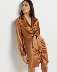 RIVER ISLAND GOLD TIE FRONT MINI DRESS ~ glamorous gathered detail party fashion ~ going out evening dresses