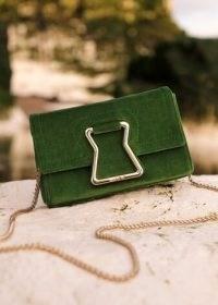 Me and Em Grace Velvet Mini Bag Green ~ small luxe style crossbody bags