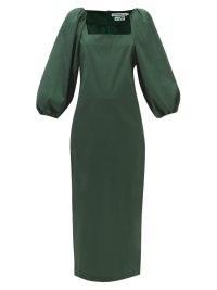BERNADETTE Ava green square-neck puff-sleeve maxi dress