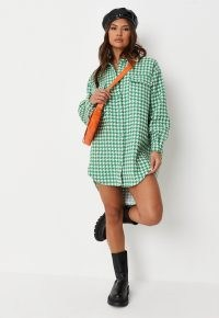 MISSGUIDED green boucle houndstooth oversized shirt dress ~ checked high low curved hem dresses