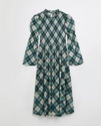 RIVER ISLAND Green check shirred midi dress ~ checked vintage style dresses