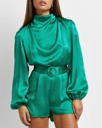 RIVER ISLAND Green high neck belted satin playsuit ~ glamorous high neck long balloon sleeve playsuits