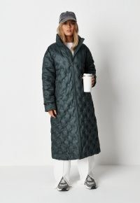 MISSGUIDED green quilted coat ~ fashionable longline padded winter coats