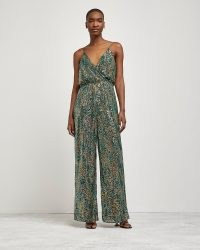 RIVER ISLAND GREEN SEQUIN WRAP FRONT JUMPSUIT / shimmering sequinned cami strap jumpsuits