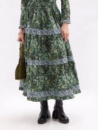 BATSHEVA X Laura Ashley Brie cotton maxi skirt ~ green floral tiered skirts ~ prairie style fashion