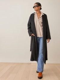 REFORMATION Greenwich Coat in Black ~ womens shawl collar midi length winter coats ~ tie waist belt
