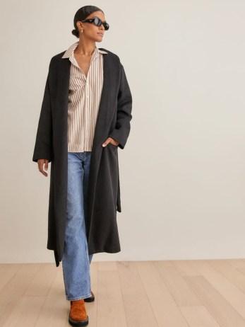 REFORMATION Greenwich Coat in Black ~ womens shawl collar midi length winter coats ~ tie waist belt - flipped