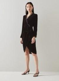 L.K. BENNETT GRETTEL BLACK VELVET WRAP DRESS / luxe style occasion dresses / ruffle trim LBD / evening fashion
