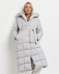 RIVER ISLAND Grey belted puffer coat ~ womens padded tie waist longline coats ~ women's hooded winter outerwear