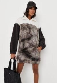 MISSGUIDED grey colourblock tie dye borg teddy zip sweater dress / casual textured winter dresses