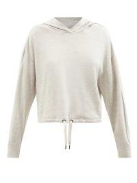 BRUNELLO CUCINELLI Cotton-blend jersey hooded sweatshirt / women's grey pullover sweatshirts / women's sports luxe hoodies / Monili chain trimmed tops