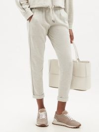 BRUNELLO CUCINELLI Cotton-blend track pants / womens chic grey slim leg joggers / women's light weight jersey jogging bottoms / sports luxe pants