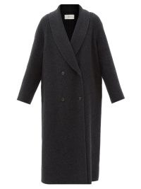 Jennifer Lawrence dark grey longline overcoat, THE ROW Fleur double-breasted wool coat, out in New York City, 21 October 2021 | celebrity street style coats | star winter fashion