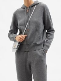 BURBERRY Libby zipped hooded sweatshirt in grey / womens designer monogram embroidered front zip sweatshirts / women's cashmere and cotton blend hoodies