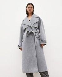 RIVER ISLAND Grey RI Studio trench coat ~ womens belted tie waist winter coats